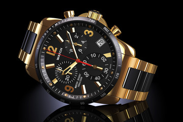 Golden wrist watch.