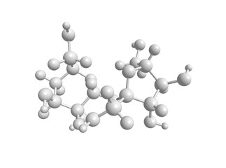 Molecular structure of sucrose (table sugar) - in white