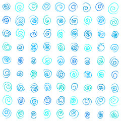 Seamless vector pattern. Blue squiggles texture.