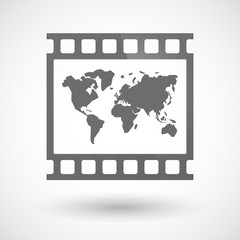 Photographic film icon with a world map