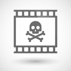 Photographic film icon with a skull