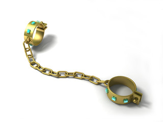 Shackles 2. Golden fetters with diamonds.