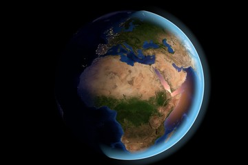 Planet Earth, the Earth from space showing Africa and Sahara desert on globe in the day time, elements of this image furnished by NASA