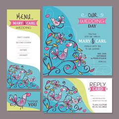 Set of cute wedding cards