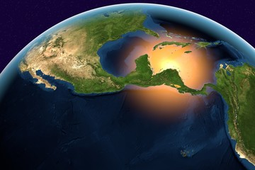 Planet Earth, the Earth from space showing Central America, Belize, Costa Rica, El Salvador, Guatemala, Honduras, Nicaragua, Panama on globe in the day time, elements of this image furnished by NASA