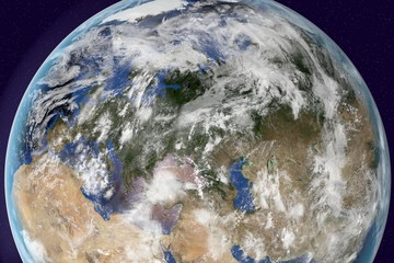 Planet Earth, the Earth from space showing Europe, Asia and Africa on globe in the day time with clouds, elements of this image furnished by NASA