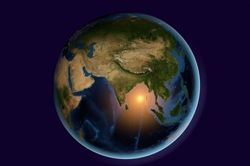 Planet Earth, the Earth from space showing India, Asia, India on globe in the day time, elements of this image furnished by NASA