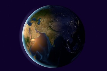 Planet Earth, the Earth from space showing India, Asia, India on globe in the evening, elements of this image furnished by NASA