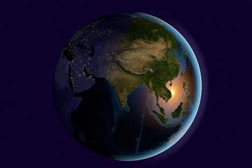 Planet Earth, the Earth from space showing India, Asia, India on globe in the morning, elements of this image furnished by NASA
