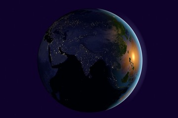 Planet Earth, the Earth from space showing India, Asia, India on globe in night, elements of this image furnished by NASA