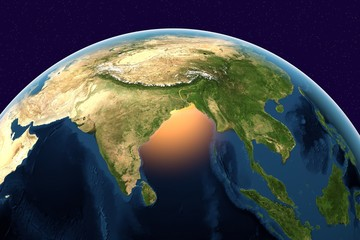 Planet Earth, the Earth from space showing India, Sri Lanka, Indonesia on globe in the day time, elements of this image furnished by NASA
