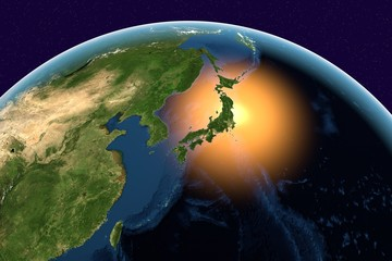 Planet Earth, the Earth from space showing Japan, Asia on globe in the day time, elements of this image furnished by NASA