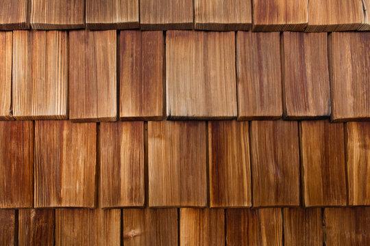 closeup of red wood shingles