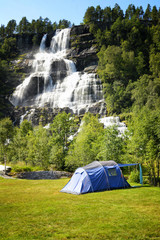 Camping near Tvindefossen waterfall, Norway