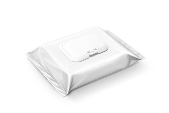 blank packaging wet wipes pouch isolated on white background