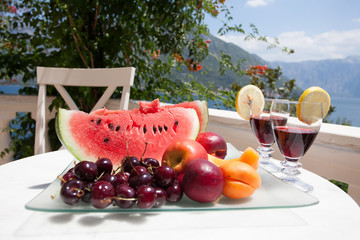 fruit on seaside table