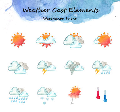 Weather cast elements,Watercolor high resolution