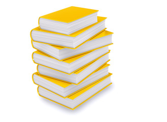 Gold Book Pile Isolated. Literature, education or learning 3D concept render.