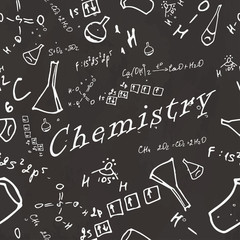 Seamless pattern on school board. Freehand drawing. Chemistry el