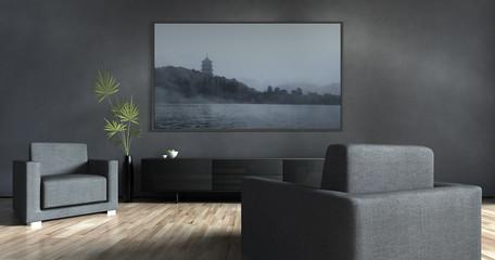 Wohnzimmer mit Bild und zwei Sesseln