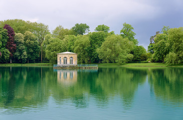 pavilion in the park in royal residence in Fontainebleau, France . Wall mural