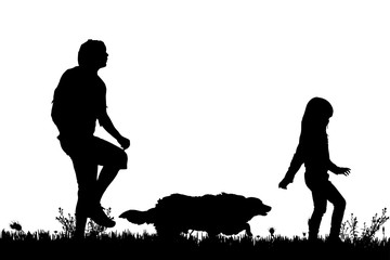 Vector silhouette of the family.
