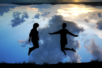 Freedom and Enjoyment concept - Happy Couple lady jumping ,danci