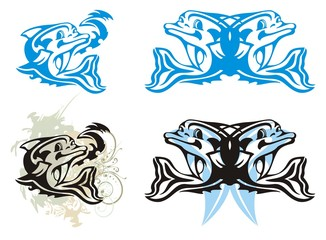 Tribal cartoon dolphin and dolphin splashes. Vector illustration of dolphins in various color and grunge dolphin splashes
