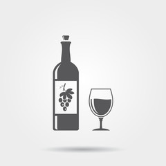 Bottle of wine with a glass - vector icon