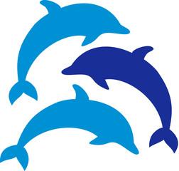 Photo sur Aluminium Dauphins Three dolphins