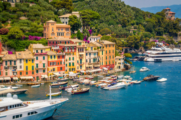 PORTOFINO, ITALY - JULY 2015 - A view of the town