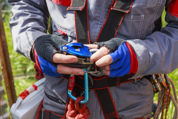 grigri. belay device for work at height in telecommunications