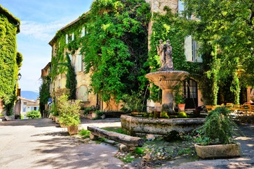 Fototapete - Leafy town square with fountain in a picturesque village in Provence, France