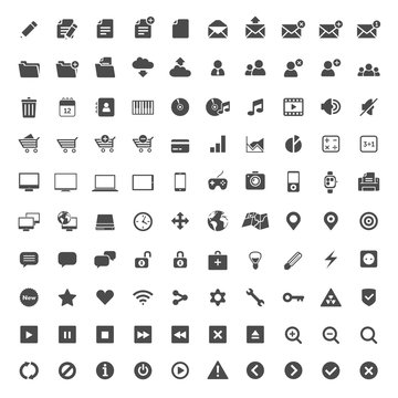 100 one colour flat design icons for web and mobile