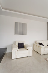 Comfortable white armchair