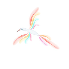 Abstract bird isolated on white background. Vector illustration.