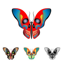 butterfly with a skull on wings. Vector illustration.