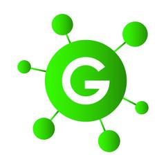 G Letter Icon Splash Bubbles Vector Element