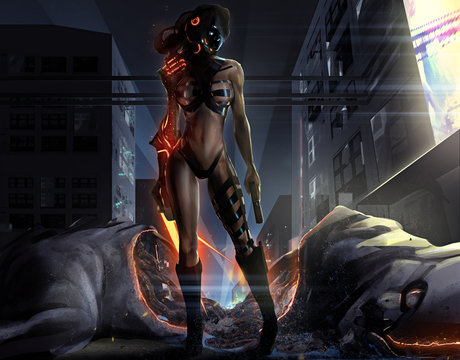 Warrior sci-fi woman standing in futuristic suit with gun & fire claws in front a dead monster body illustration.