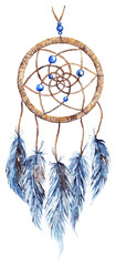 Watercolor ethnic tribal hand made feather dreamcatcher