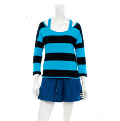 female mannequin in trousers ,blue shorts, with striped shirt