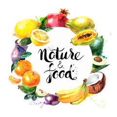 Eco food menu background. Watercolor hand drawn fruits