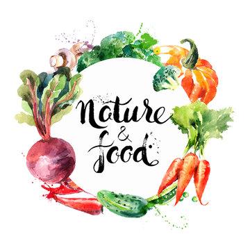 Eco food menu background. Watercolor hand drawn vegetables