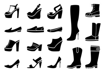 Wall Mural - Woman shoes icons set