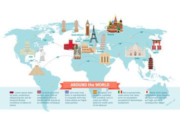 World landmarks on map