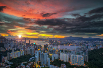Landscape of Hot air Balloon over Hong kong sky with sunrise