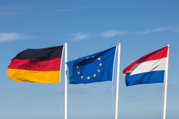 Flags of Germany, Netherlands and the EU