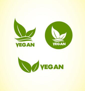 Vegan vegetarian logo icon set