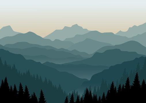 Mountain landscape at dawn. Vector illustration.