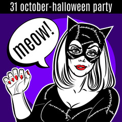 Halloween Party design template. Woman in catsuit, сat lady